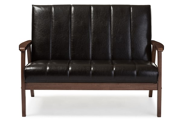 Baxton Studio Nikko Dark Brown Faux Leather 2 Seater Loveseat BAX-BBT8011A2-Brown-Loveseat