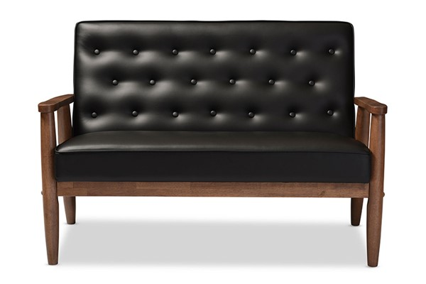 Baxton Studio Sorrento Black Faux Leather Upholstered 2 Seater Loveseat BAX-BBT8013-Black-Loveseat