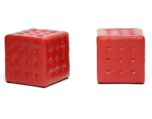 2 Baxton Studio Siskal Red Faux Leather Tufted Cube Ottomans BAX-BH-5589-RED-OTTO