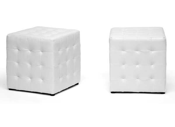 2 Baxton Studio Siskal White Faux Leather Tufted Cube Ottomans BAX-BH-5589-WHITE-OTTO