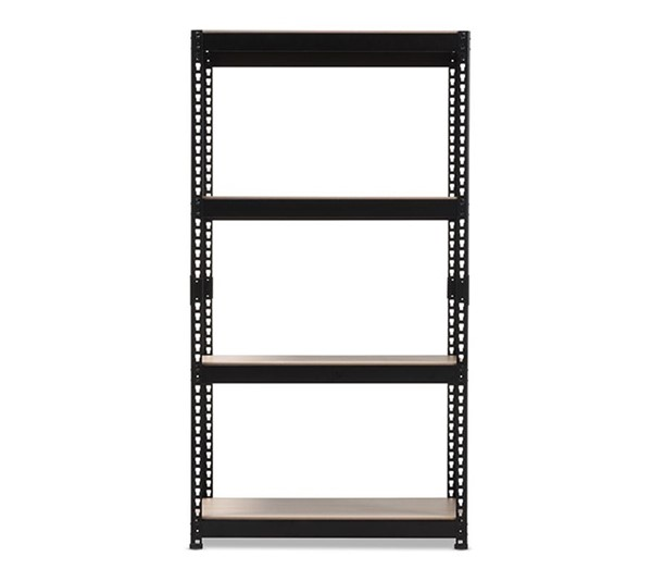 Baxton Studio Cody Black Metal 4 Shelves Multipurpose Shelving Rack BAX-BR10-Black-Shelf