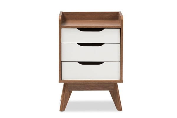 Baxton Studio Brighton Walnut Wood 3 Drawers Storage Night Stand BAX-Brighton-Walnut-White-NS