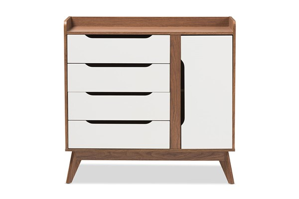 Baxton Studio Brighton Walnut Wood Storage Shoe Cabinet BAX-BRIGHTON-WL-WH-SHOECAB