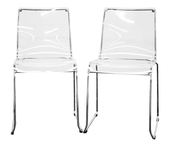 2 Baxton Studio Lino Clear Acrylic Transparent Dining Chairs BAX-CC-53-Clear