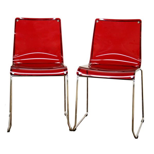 2 Baxton Studio Lino Red Acrylic Transparent Accent Dining Chairs BAX-CC-53-Red
