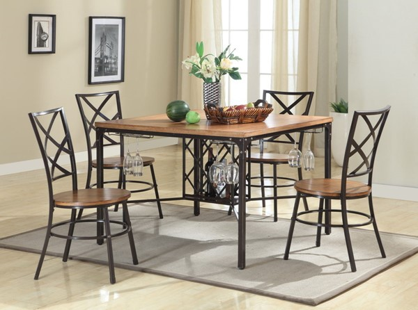 Baxton Studio Vintner Black Brown 5pc Dining Set BAX-CDC252-5PC-Dining-Set