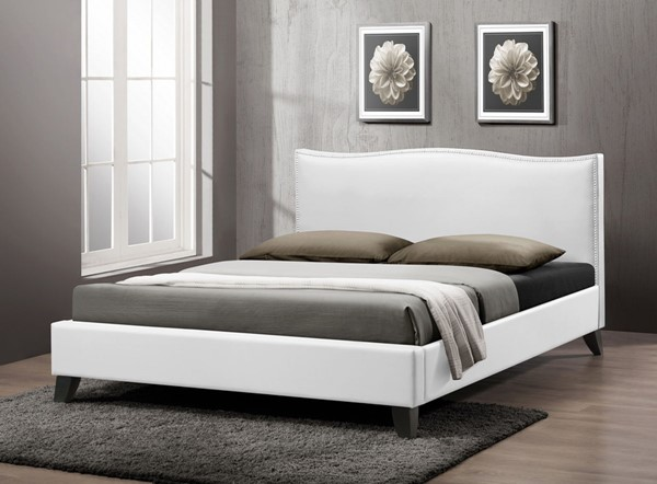 Baxton Studio Battersby White Faux Leather Upholstered Queen Bed BAX-CF8276-QUEEN-WHITE