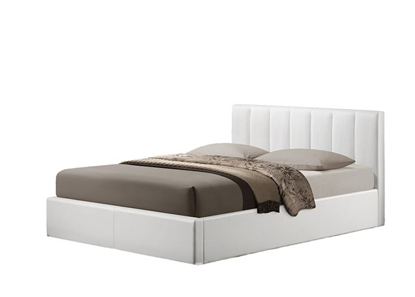 Baxton Studio Templemore White Leather Upholstered Queen Bed BAX-CF8287-Queen-White