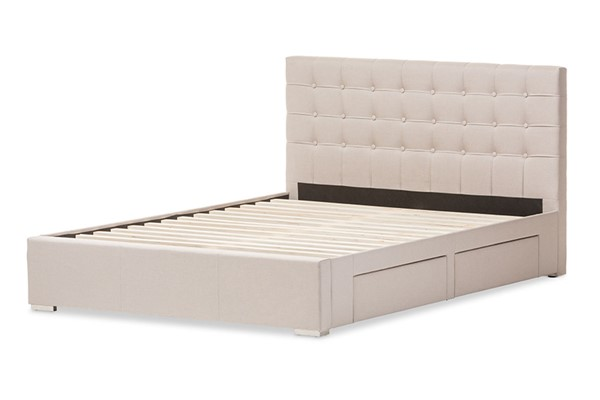 Baxton Studio Rene Beige Fabric 4 Drawers Storage King Platform Bed BAX-CF8497-King-Brown