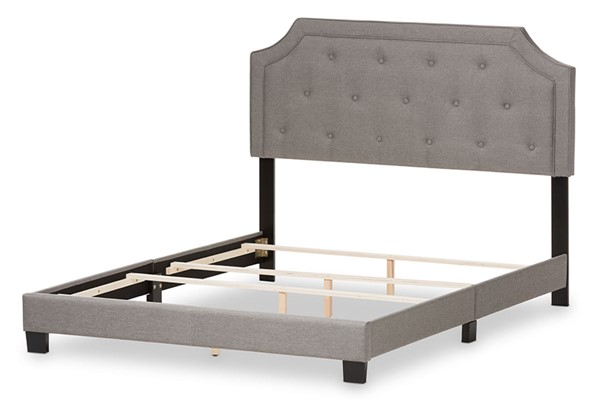 Baxton Studio Willis Light Grey Fabric Upholstered King Bed BAX-CF8747-J-Light-Grey-King
