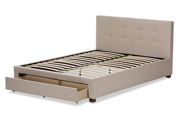 Baxton Studio Brandy Beige Fabric Upholstered King Storage Platform Bed BAX-CF8774-Beige-King