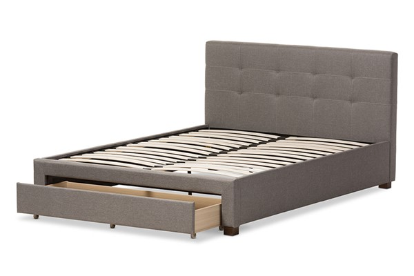 Baxton Studio Brandy Grey Fabric Upholstered Queen Storage Platform Bed BAX-CF8774-Grey-Queen