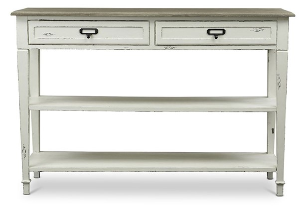Baxton Studio Dauphine White 2 Drawers Accent Console Table BAX-CHR9VM-M-B-CA