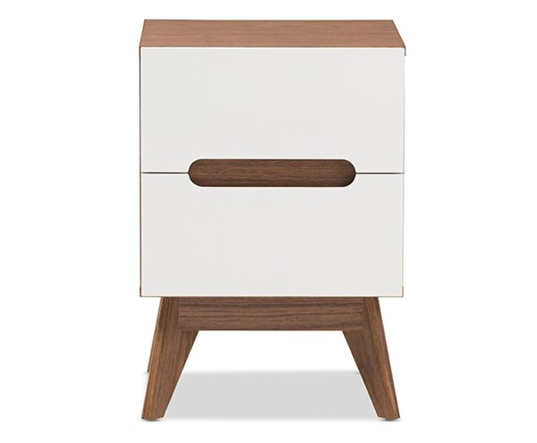 Baxton Studio Calypso Walnut Wood 3 Drawers Storage Night Stand BAX-Calypso-Walnut-White-NS