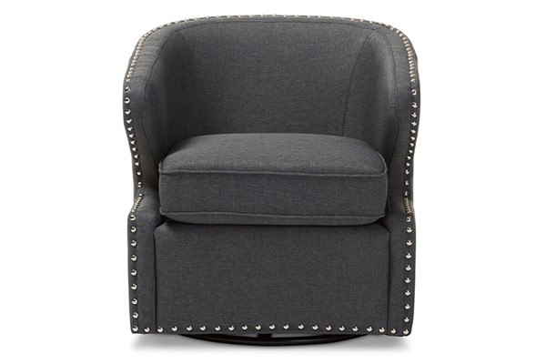 Baxton Studio Finley Grey Fabric Upholstered Swivel Armchair BAX-DB-203-Gray