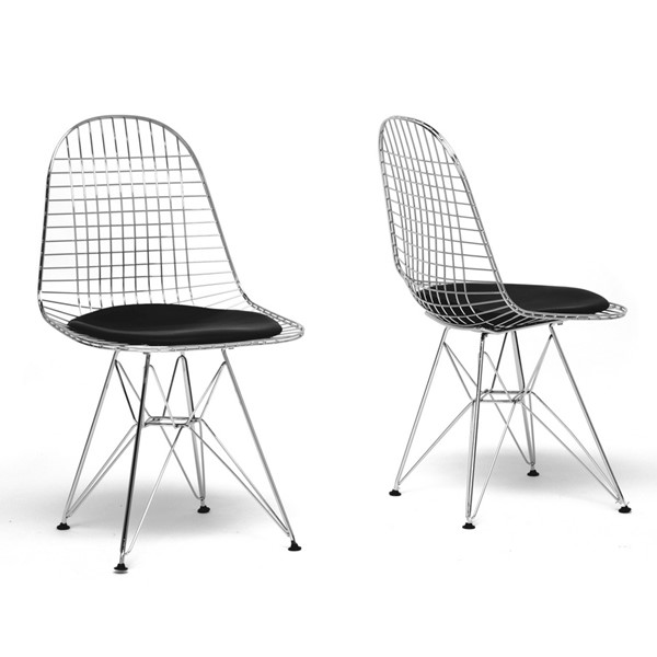 2 Baxton Studio Avery Wire Chairs with Black Cushion BAX-DC-106-black-cushion-DC