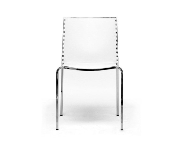 2 Baxton Studio Gridley White Plastic Dining Chairs BAX-DC-12-white