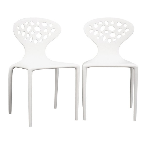 2 Baxton Studio Durante White Plastic Molded Chairs BAX-DC-317-white