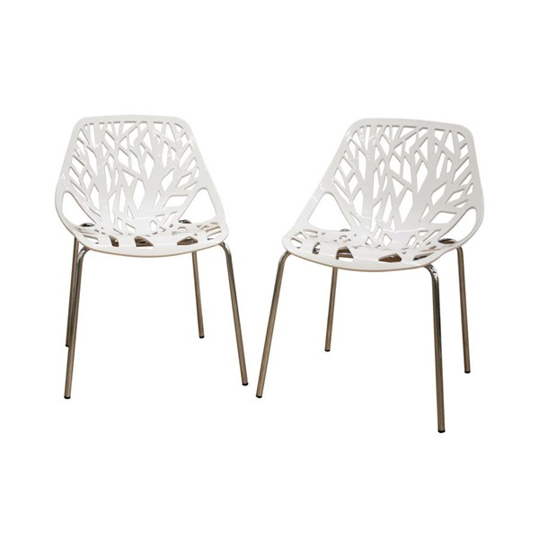 2 Baxton Studio Birch Sapling White Plastic Dining Chairs BAX-DC-451-White