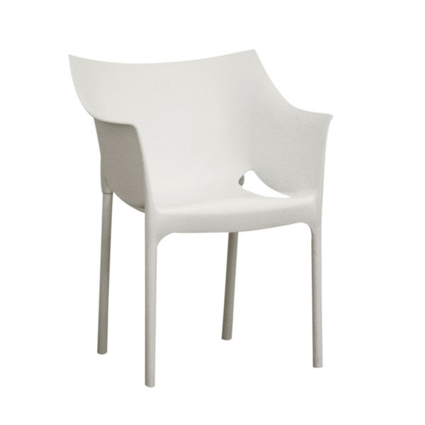 2 Baxton Studio Marvin White Molded Plastic Arm Chairs BAX-DC-58-white