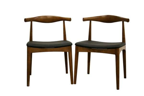 2 Baxton Studio Sonore Black Faux Leather Walnut Wood Accent Dining Chairs BAX-DC-593