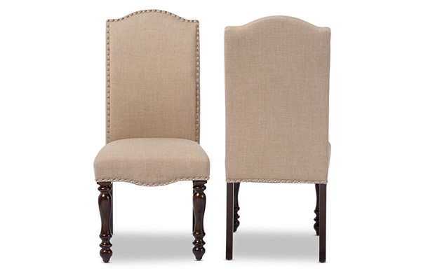 2 Baxton Studio Zachary Beige Fabric Upholstered Nailhead Dining Chairs BAX-DC18836P-DC