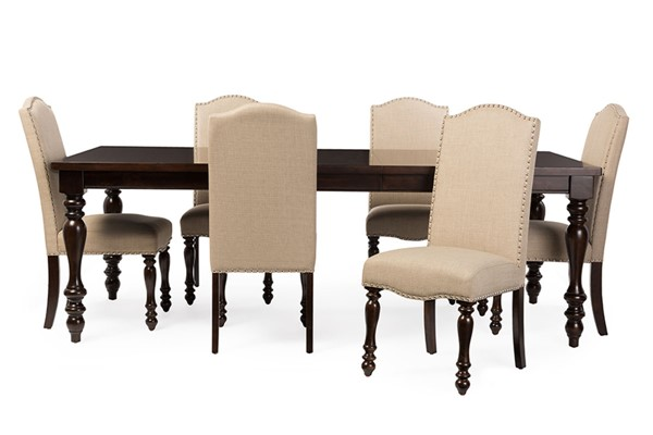Baxton Studio Zachary Beige Fabric Brown Wood 7pc Dining Set with 72 inch Extendable Dining Table BAX-DC18836P-7PC-Dining-Set