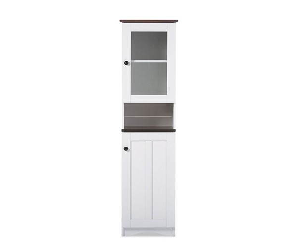 Baxton Studio Lauren White Wood Buffet and Hutch Kitchen Cabinet BAX-DR-883300-White-Wenge