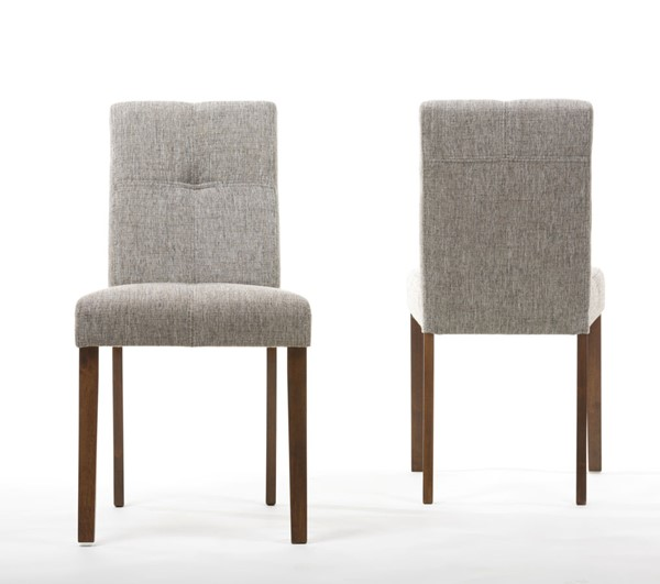 2 Baxton Studio Elsa Gravel Fabric Armless Dining Chairs BAX-Elsa-Dining-Chair-109-690