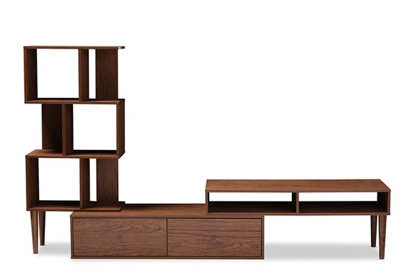 Baxton Studio Haversham Walnut Brown TV Stand Entertainment Center and Display Unit BAX-FP-6784-Walnut-TV