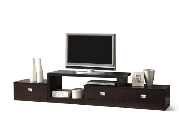 Baxton Studio Marconi Dark Brown Asymmetrical 3 Drawers TV Stand BAX-FTV-4125