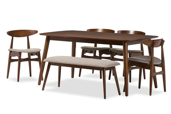 Baxton Studio Flora Light Grey Fabric Medium Brown Wood 6pc Dining Set BAX-Flora-Medium-Oak-6PC-Dining-Set