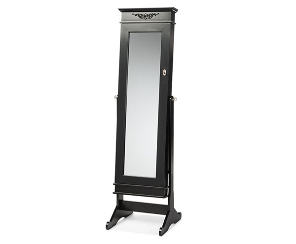 Baxton Studio Bimini Black Free Standing Full Length Cheval Mirror Jewelry Armoire BAX-GLD17047-Black