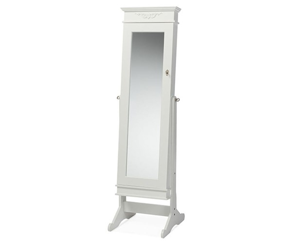Baxton Studio Bimini White Free Standing Full Length Cheval Mirror Jewelry Armoire BAX-GLD17047-White