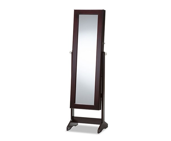 Baxton Studio Alena Brown Free Standing Cheval Mirror Jewelry Armoire BAX-GLD13316-Brown