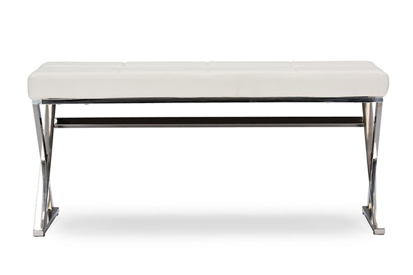 Baxton Studio Herald White Faux Leather Upholstered Rectangle Bench BAX-GY-8414-White-PU