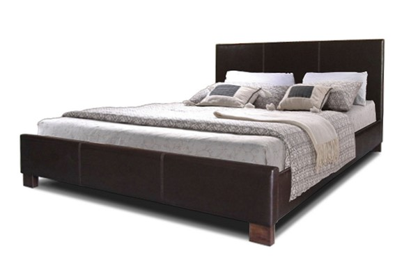 Baxton Studio Pless Dark Brown Faux Leather Queen Bed BAX-IDB048-Brown-Queen