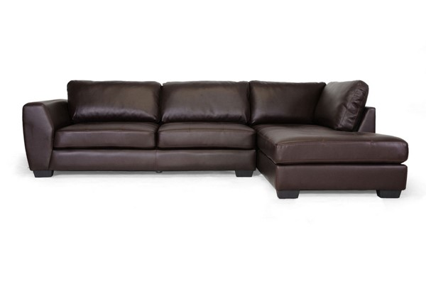 Baxton Studio Orland Brown Leather Sectional Sofa Set with Right Facing Chaise BAX-IDS023-Brown-RFC