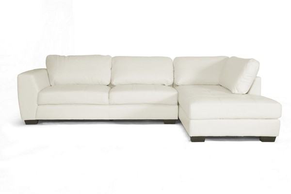 Baxton Studio Orland White Leather Sectional Sofa Set with Right Facing Chaise BAX-IDS023-White-RFC