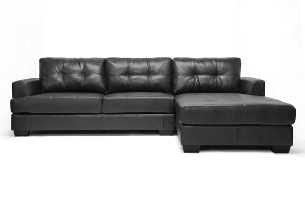 Baxton Studio Dobson Black Bonded Leather Sectional Sofa BAX-IDS070LT-SEC-Black