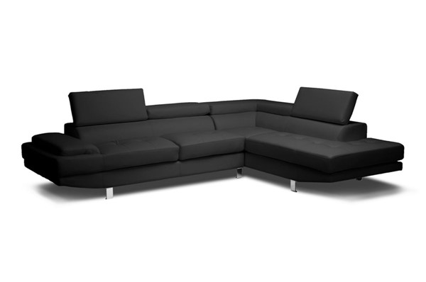 Baxton Studio Selma Bonded Leather Sectional Sofas BAX-IDS077P-Black-RSEC-VAR