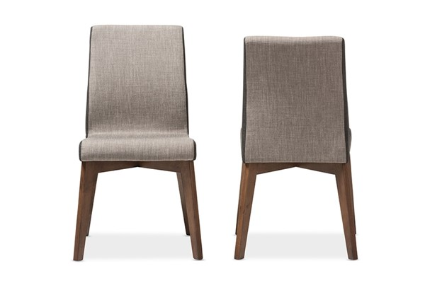 2 Baxton Studio Kimberly Brown Fabric Upholstered Dining Chairs BAX-KIMBERLY-BR-DBR-DC