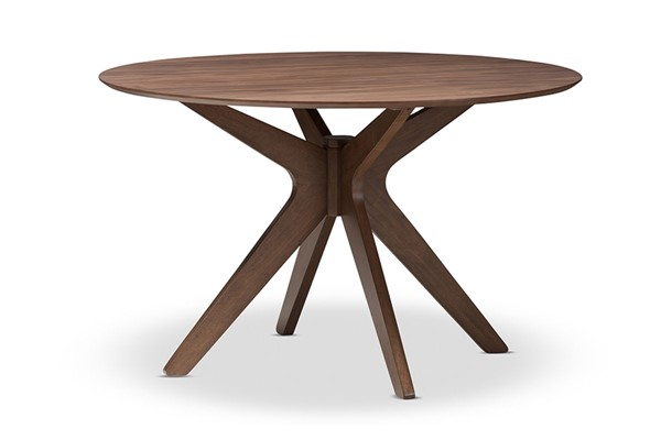 Baxton Studio Monte Walnut Brown Wood 47 Inch Round Dining Table BAX-Monte-Walnut-Round-DT
