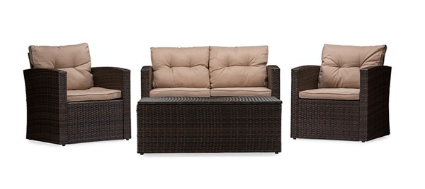 Baxton Studio Imperia Beige Fabric Upholstered 4pc Outdoor Coffee Table Patio Set BAX-PAS-1225B