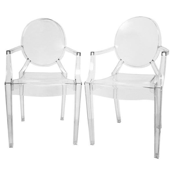 2 Baxton Studio Dymas Clear Acrylic Armed Ghost Chairs BAX-PC-449-clear