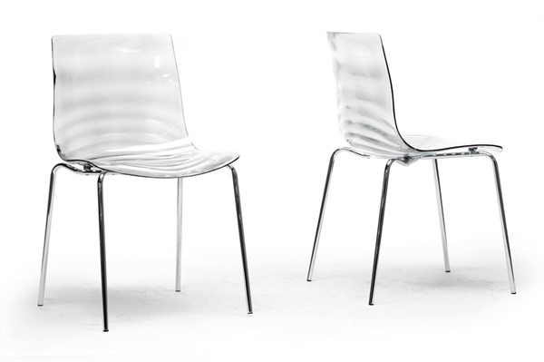 2 Baxton Studio Marisse Clear Plastic Dining Chairs BAX-PC-840-Clear