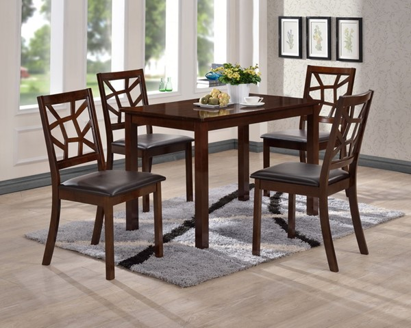 Baxton Studio Mozaika Black Faux Leather Dark Brown Wood 5pc Dining Set BAX-PCH-254SQ-S3-DT-PCH-6339-DC-4