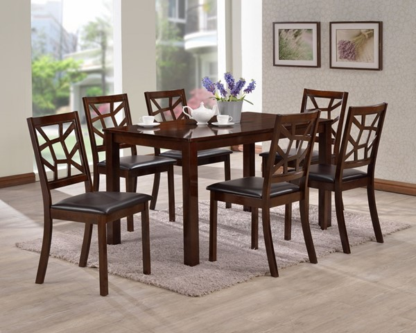 Baxton Studio Mozaika Black Faux Leather Dark Brown Wood 7pc Dining Set BAX-PCH305SQ-S3-PCH-6339-DC-6