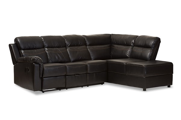 Baxton Studio Roland Black Faux Leather 2pc Sectional with Recliner and Storage Chaise BAX-R1818-Black-SF