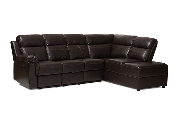 Baxton Studio Roland Dark Brown Faux Leather 2pc Sectional with Recliner and Storage Chaise BAX-R1818-Dark-Brown-SF